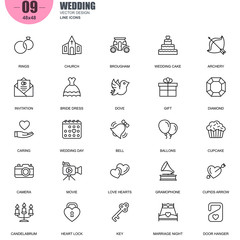 Simple Set of Wedding Related Vector Line Icons. Contains such Icons as Bride Dress, Ballons, Rings, Brougham, Love Hearts, Gift, Invitation and more. Editable Stroke. 48x48 Pixel Perfect.
