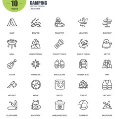 Simple Set of Camping Related Vector Line Icons. Contains such Icons as Camp, Bonfire, Kettle, Map, Binoculars, Forest, Backpack, Rubber Boat and more. Editable Stroke. 48x48 Pixel Perfect.