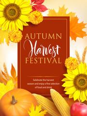 Autumn Harvest Festival poster design. Vector illustration.