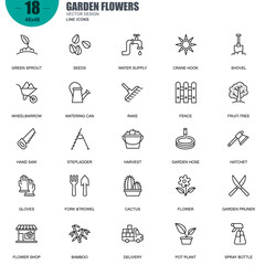 Simple Set of Garden Flowers Related Vector Line Icons. Contains such Icons as Green Sprout, Seeds, Cactus, Stepladder, Harvest, Fruit-tree and more. Editable Stroke. 48x48 Pixel Perfect.