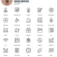 Simple Set of Office Supplies Related Vector Line Icons. Contains such Icons as Manager, Briefcase, Brainstorm, Diagram, Chair, Laptop, Address Book and more. Editable Stroke. 48x48 Pixel Perfect.