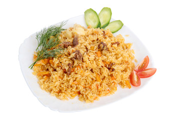 rice pilaf with meat carrot and onion isolated on white