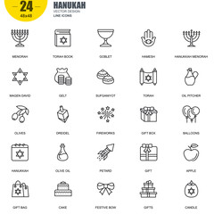 Simple Set of Hanukah Related Vector Line Icons. Contains such Icons as Menorah, Torah Book, Candle, Dreidel, Hamesh, Sufganiyot and more. Editable Stroke. 48x48 Pixel Perfect.