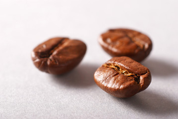 coffee beans on white background close up