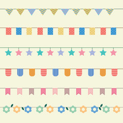 Colourful bunting and garlands. Party flags decoration