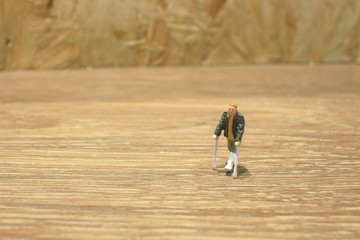 small of figure an with crutch isolated