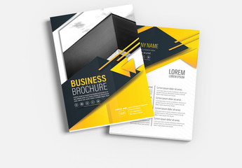 Brochure Cover Layout with Yellow and Gray Accents 1