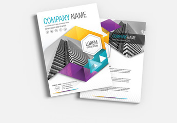 Brochure Cover Layout with Teal, Yellow and Purple Accents