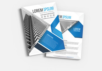Brochure Cover Layout with Blue and Gray Accents 6
