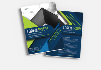 Brochure Cover Layout with Blue and Green Accents 5