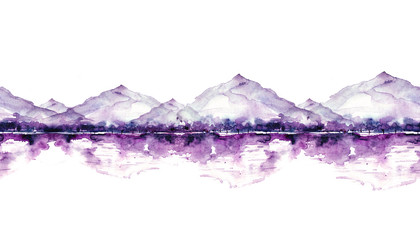 Seamless watercolor linear pattern, border. purple, pink, lilac mountain landscape, a river, a forest and a reflection in the water,  silhouette of trees.