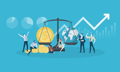 Global investment. Flat design business people concept. Vector illustration for web banner, business presentation, advertising material.