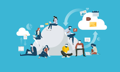 Cloud computing. Flat design people and technology concept. Vector illustration for web banner, business presentation, advertising material.