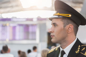 Assured handsome airman in airport