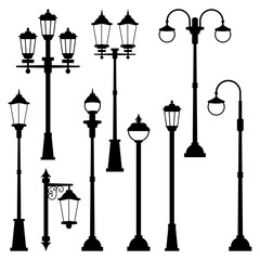 Old street lamps set in monochrome style. Vector illustrations isolate