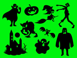 The Green Halloween, mystical characters silhouette pattern cartoon vector