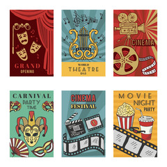 Posters design set with theatre and cinema symbols. Vector illustrations isolate