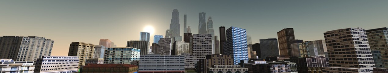 panorama of city, skyscrapers on sky background view from below, 3d rendering