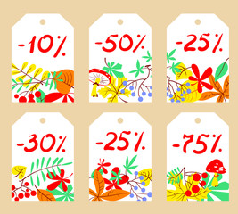 Vector set with autumn sale labels. shopping tags with bright leaves
