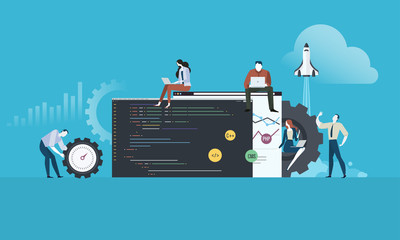 Coding. Flat design people and technology concept for website and app development. Vector illustration for web banner, business presentation, advertising material.