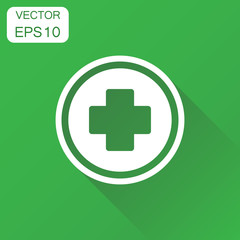 Medical health icon. Business concept medicine hospital plus sign pictogram. Vector illustration on green background with long shadow.