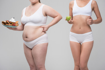 Thin and thick women with healthy or unhealthy food