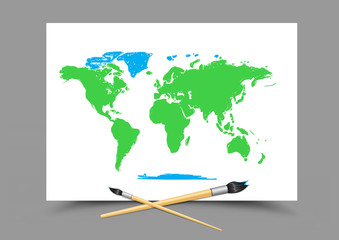 drawing world map on white paper