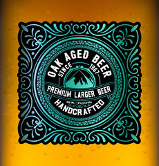 Vintage label design for beer and Wine label, Restaurant.