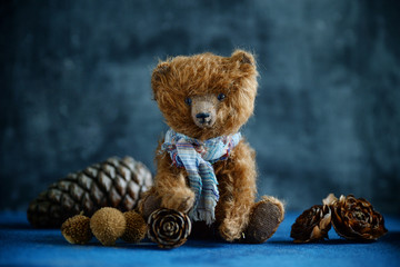 Handmade toy teddy bear brown plush pine cones