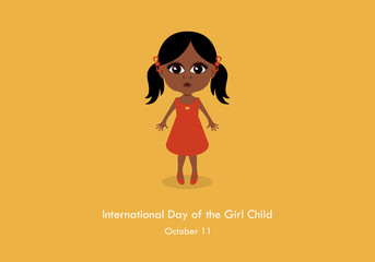 International Day of the Girl Child vector. Little girl cartoon character. Black child vector. Important day
