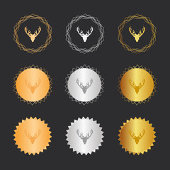Rentier Kopf - Bronze, Silber, Gold Medaillen