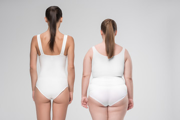 Two young thick and thin women have different figures