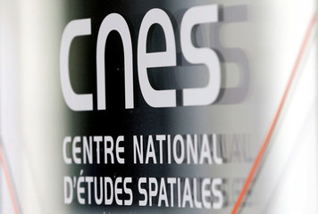 Logo of the French National Space Agency (CNES) is pictured in Toulouse, France