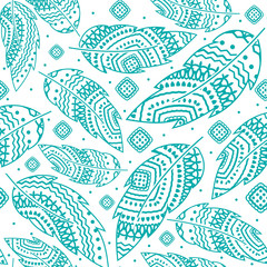 Turquoise boho feather vector seamless pattern, ethnic tribal ornament, detailed illustration, hand drawn, great for fabric and textile, prints, invitation, packaging, or any desired idea.