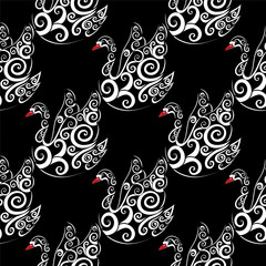 White swan with black bacground, vector seamless repeat pattern, detailed illustration, hand drawn, great for fabric and textile, prints, invitation, packaging, greeting cards or any desired idea.