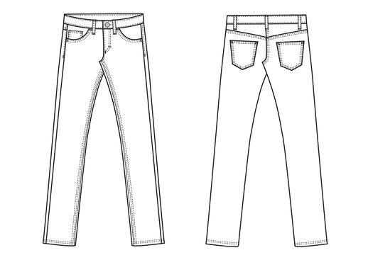 garment sketch denim jeans