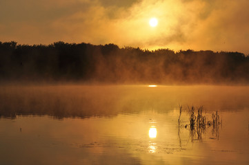 Beautiful dawn on the river. Landscape, nature, decline, beauty