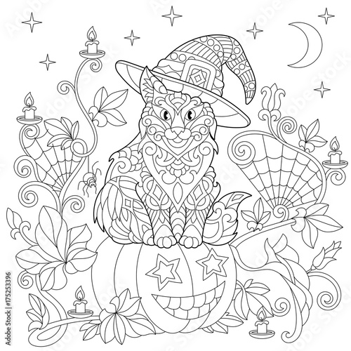 Halloween Coloring Page Cat In A Hat Pumpkin Spider Web Lanterns