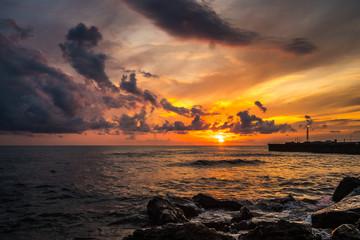 Beautiful sunset Black sea. Gold sea sunset