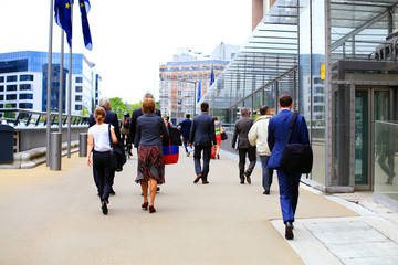 Business people in the street of Brussels