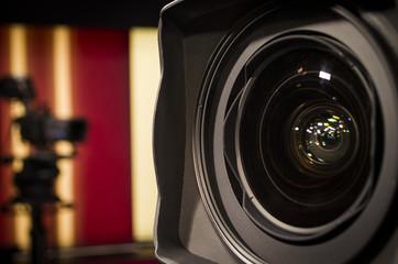 photo film camera lens on background studio camera