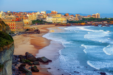 Biarritz city and its famous sand beaches, France