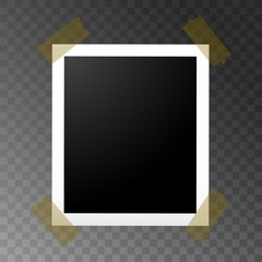 Realistic Photo frame on sticky tape isolated on transparent background. Vector illustration.