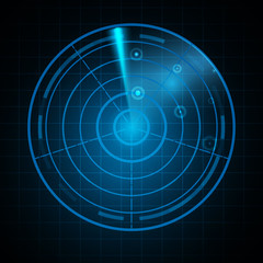 Realistic Digital radar in searching monitor. Isolated on black background. Vector illustration, eps 10.