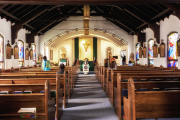 JUNEAU, ALASKA - SEPT 3, 2017: Catholic church Sunday pray meeting afternoon session in Juneau, Alaska.