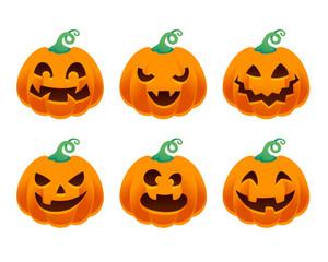 Halloween pumpkins set vector illustration.