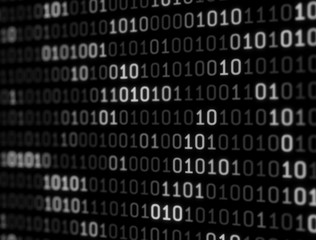Digital Binary Data on Computer Screen