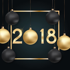 2018 New Year Background with Christmas Ball. Vector Illustration