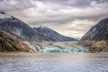 Glacier and Mountains landscape in Juneau, Alaska with fog