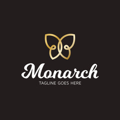 Monarch Butterfly Vector Logo Template